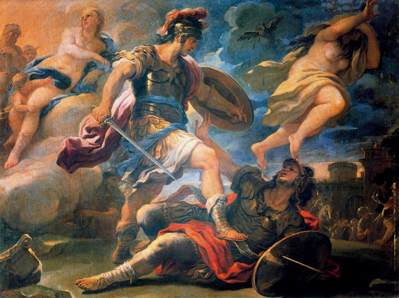 Aeneas_and_Turnus Luca Giordano