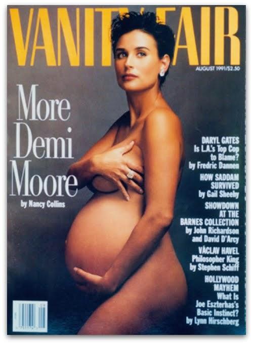 Demi Moore embarazada,  fotografiada por Annie Leibovitz para Vanity Fair (1991)