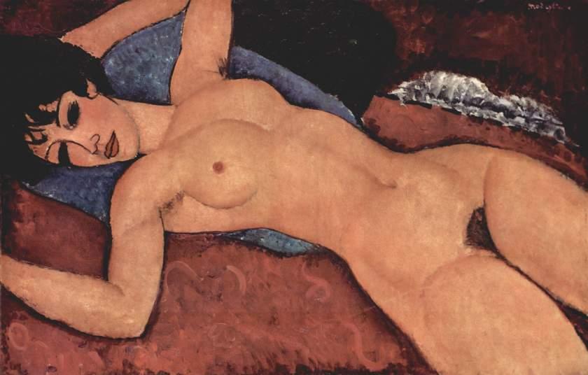 """Amedeo Modigliani (1884-1920). """"Desnudo acostado"""" (1917-1918). Colección Gianni Mattioli. Milán"""