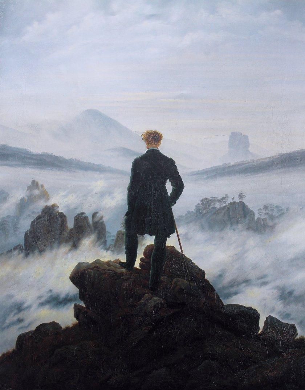 """Caspar David Friedrich (1774-1840). """"El caminante sobre el mar de nubes"""" (1818). Óleo sobre lienzo. 74.8 x 94,8 cm. Kunsthalle. Hamburgo"""
