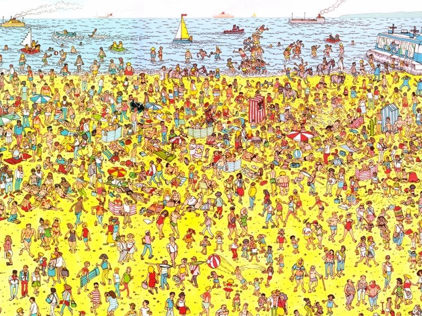Martin Handford. Wally en la playa, en la primera edición de ¿Dónde está Wally? (1987)